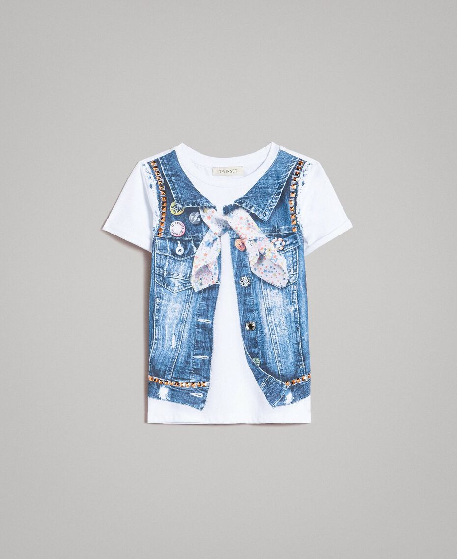 Cotton T-shirt with print and studs White Child 191GJ2381-01