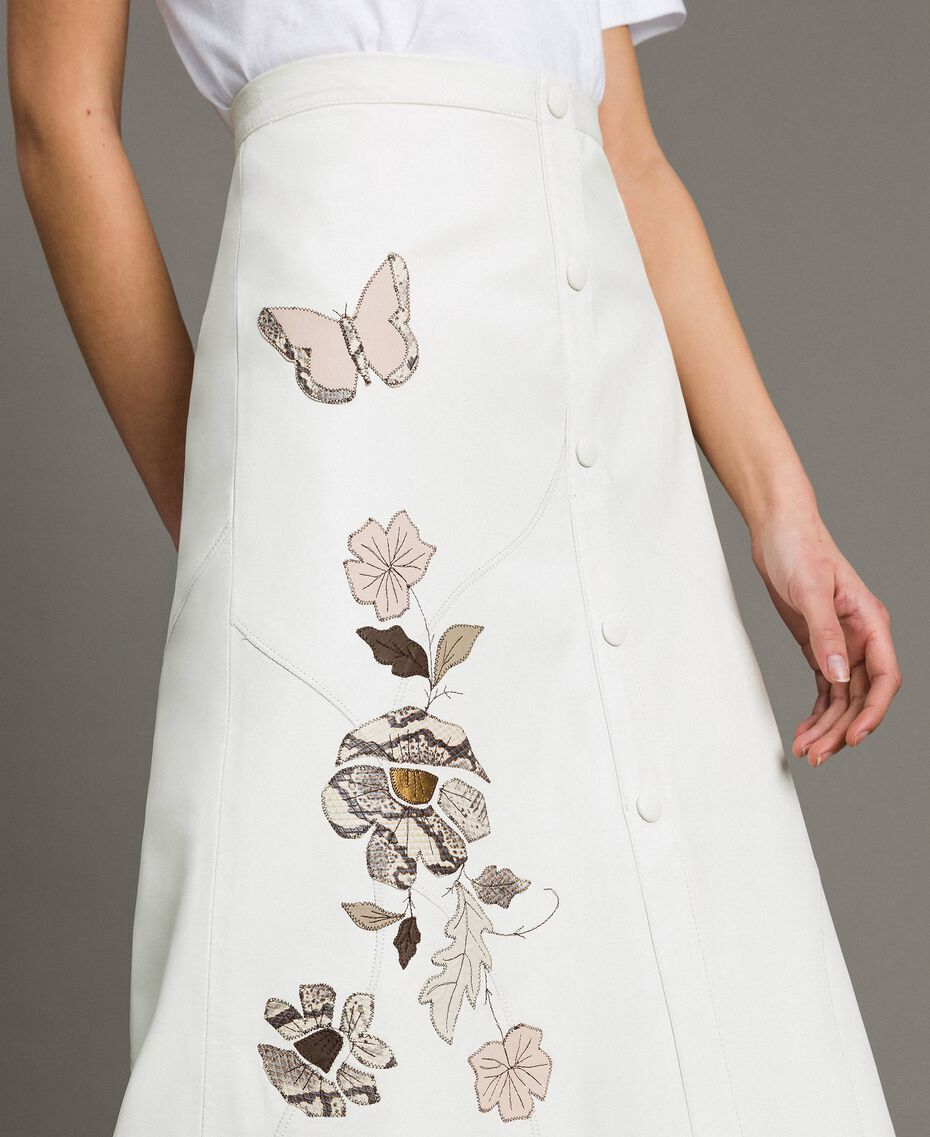 Leather skirt with patch embroidery White Snow Woman 191TT2172-02