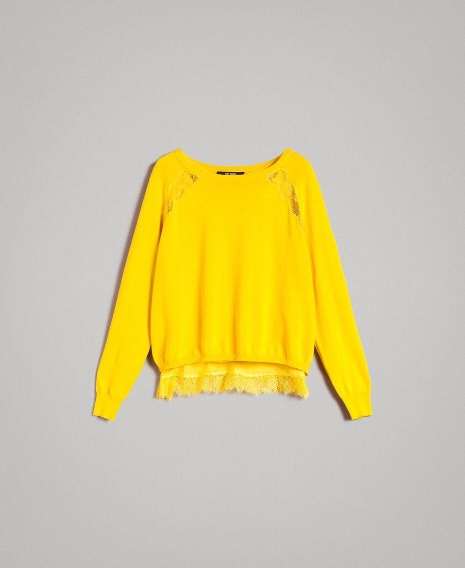 """Pullover mit Spitze und passendem Top """"Freesia"""" Gelb Frau 191MP3211-0S"""