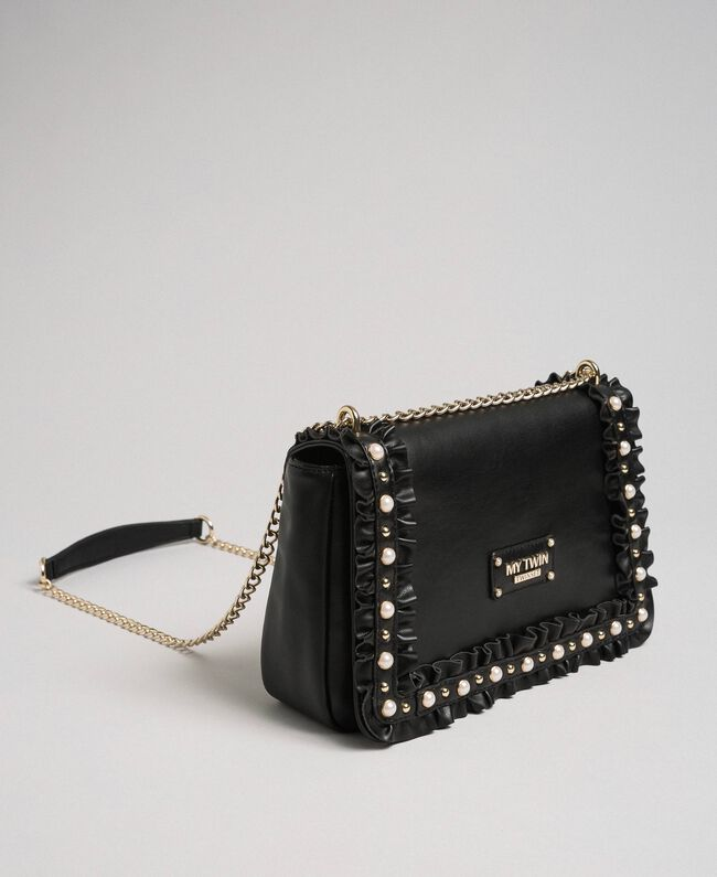 Shoulder bag with flounce and pearls Black Woman 192MA7063-01