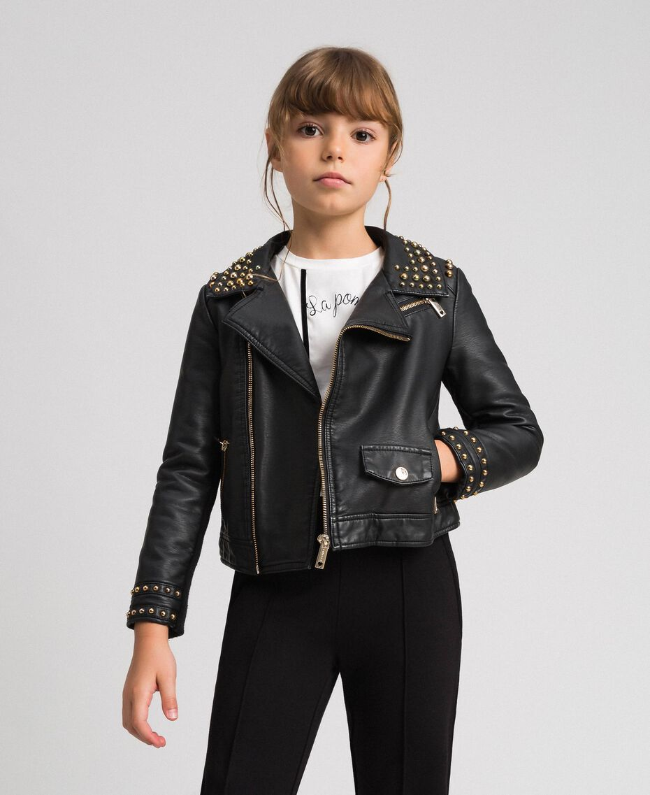 Faux leather biker jacket with studs Black Child 192GJ2020-01