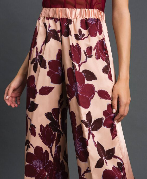 Floral print twill trousers