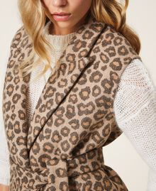 Animal print jacquard wool cloth waistcoat Walnut / Tobacco Animal Print Jacquard Woman 202TT213B-05