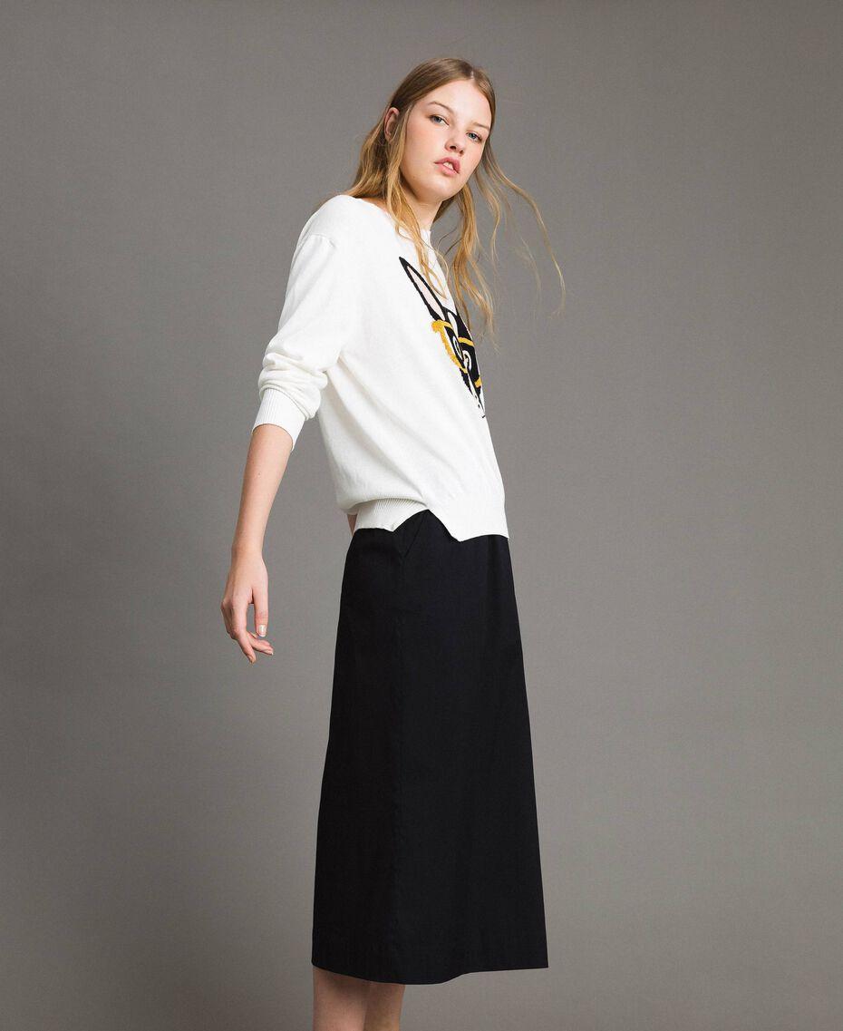 Pullover mit Lurex-Intarsie White Sahne Frau 191MP3190-02