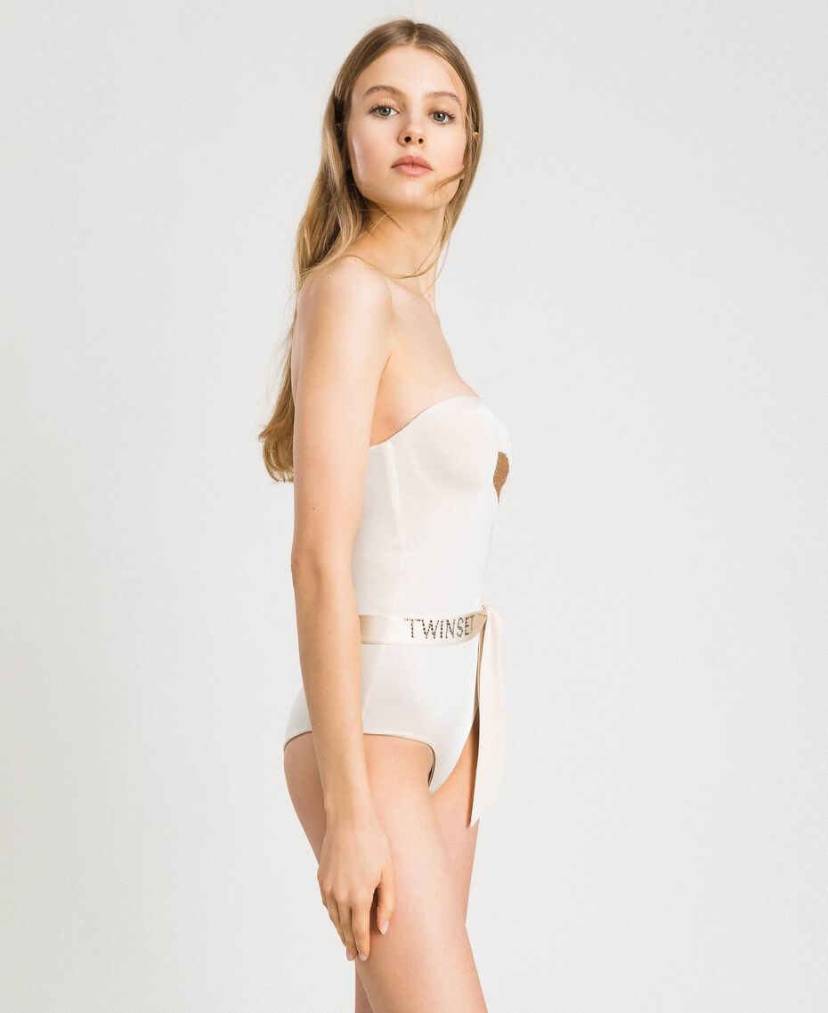 One-piece padded swimsuit with sequins Ivory Woman 191LMMCZZ-02