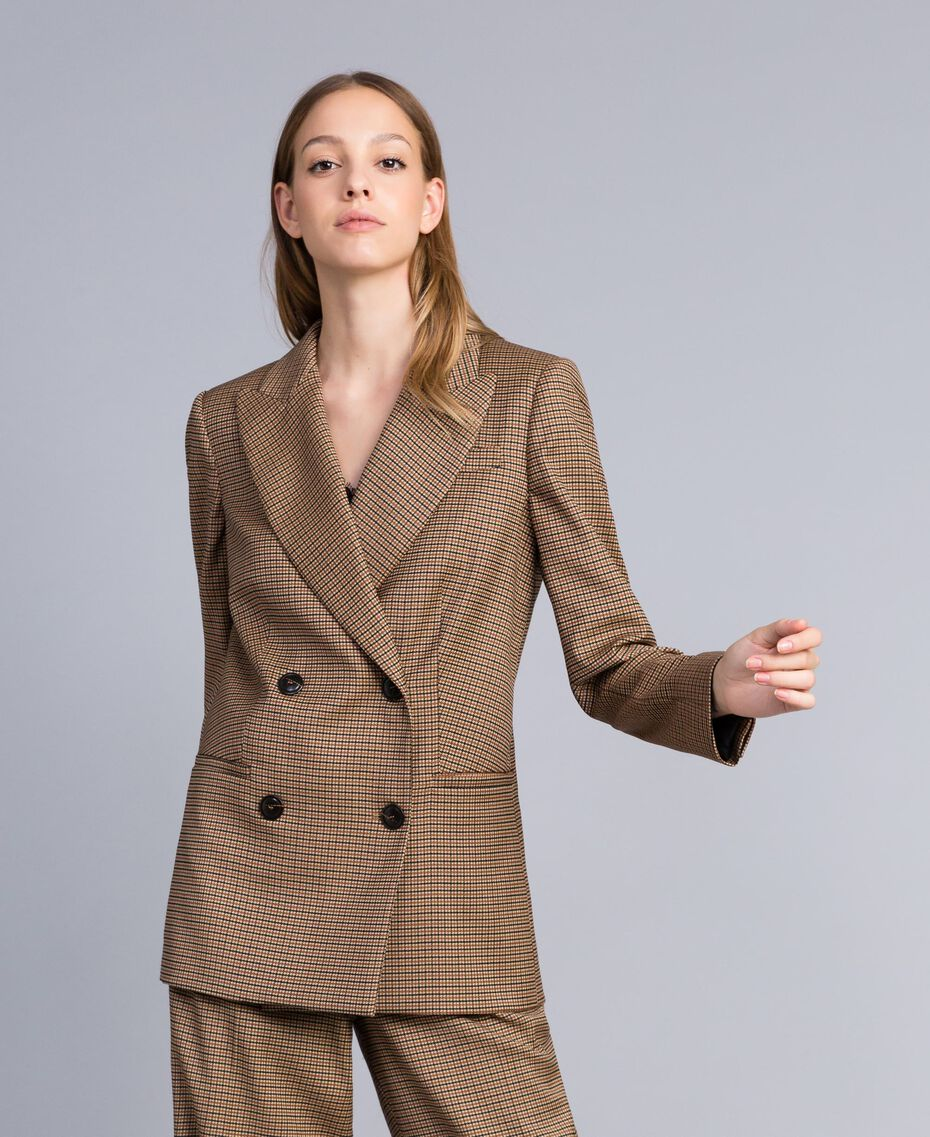 "Double-breasted wool blend jacket ""Burnt"" Orange Small Check Jacquard Woman TA821U-02"