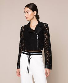 Macramé lace biker jacket Black Woman 201MP2231-01