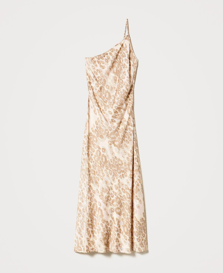 """One-shoulder satin dress with animal print """"Dune"""" Beige Animal Print Woman 202MP243A-0S"""