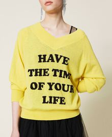 Maxi pull et robe nuisette en tulle Bicolore Jaune Sunny / Noir Femme 212AP3120-05