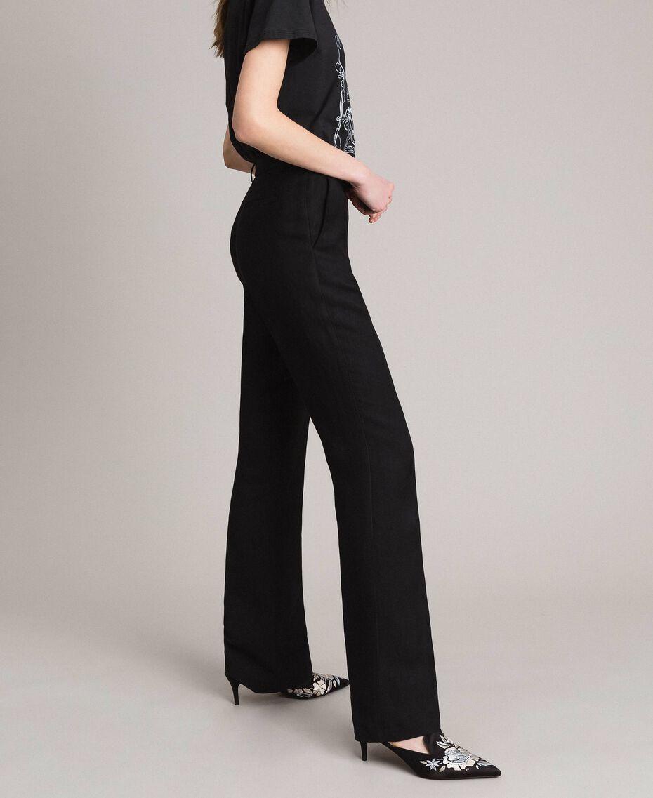 Pantalon en toile naturelle Noir Femme 191TT2295-02
