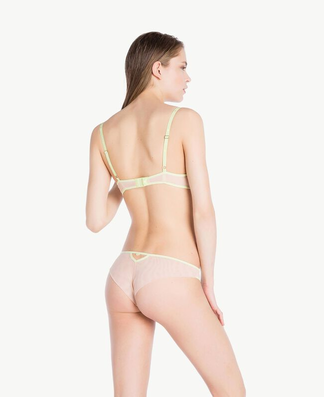 "Embroidered Brazilian briefs Two-tone ""Soft Lime"" Yellow / ""Peach Powder"" Pink Woman LS8F77-04"