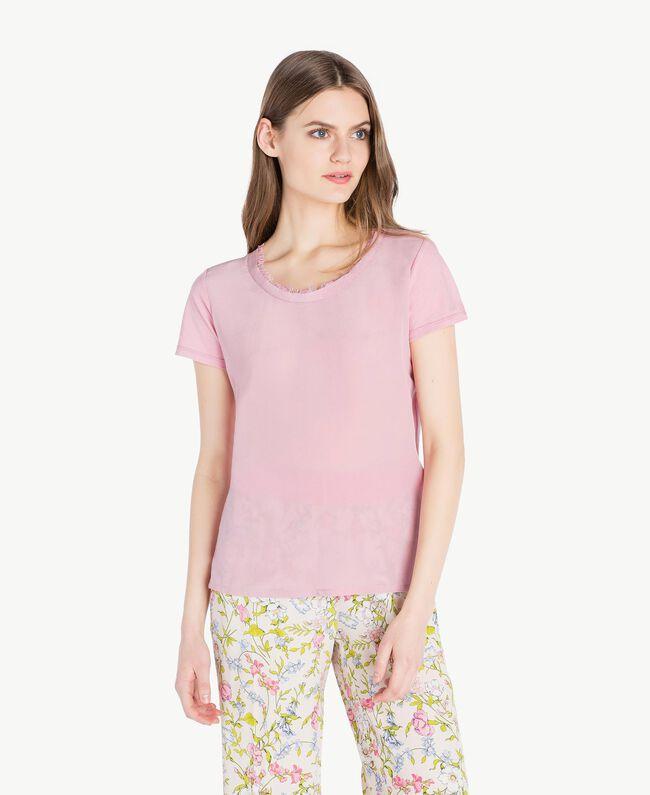 Silk T-shirt Hydrangea Pink Woman PS82HB-01