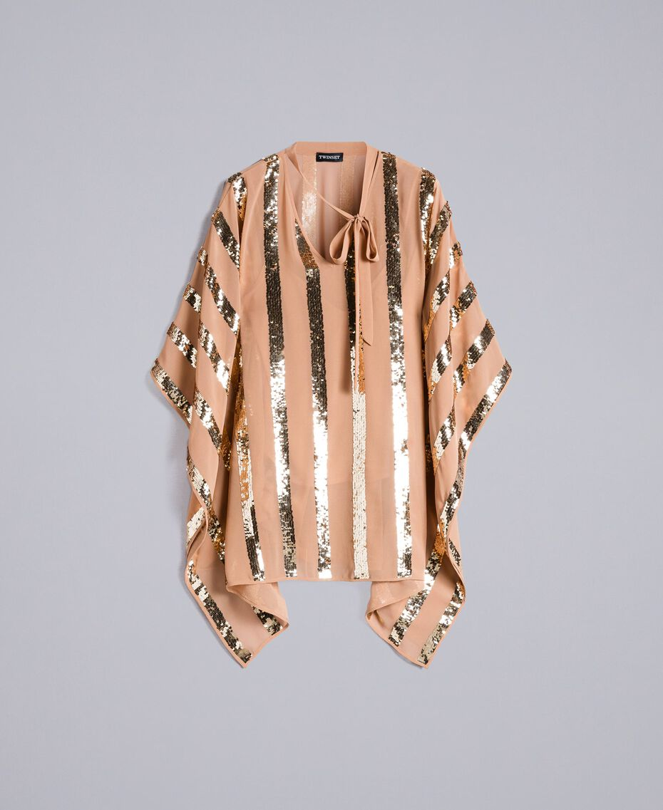 Georgette sequin poncho Camel Woman PA82J4-0S