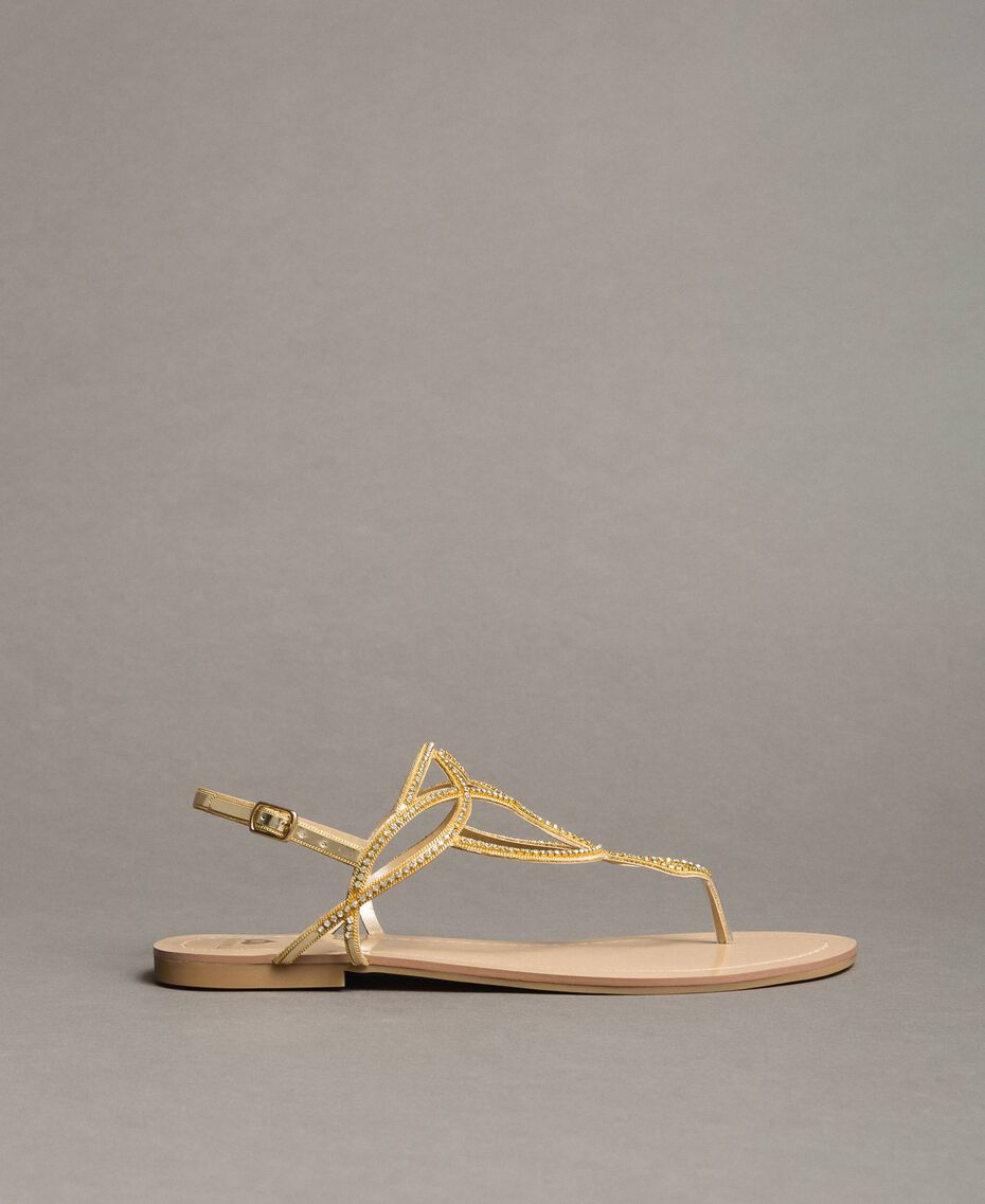 """Flat thong sandals with rhinestones """"Golden"""" Gold Woman 191LM4ZSS-02"""