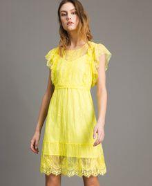 Chantilly-Kleid mit Spitze und Gürtel Schwarz Frau 191ST2121-02