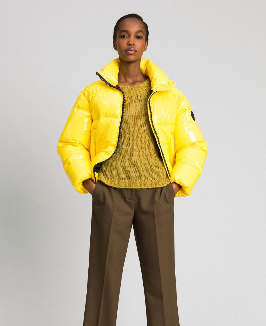 Patent leather effect short puffer jacket Yellow Woman 192MT2070-02