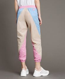 Colour block nylon jogging trousers Beige Porcelain Woman 191MP2093-03