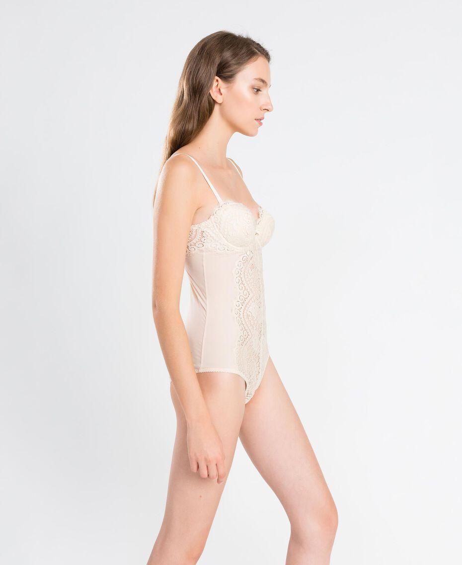 Body aus Tüll und Festonspitze Weiß Frau IA8C00-02
