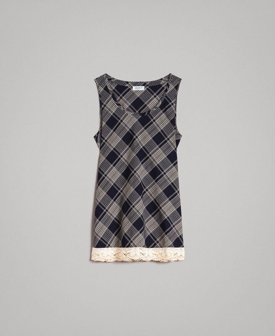 Top à carreaux avec dentelle Jacquard à Carreaux Bleu Ombre Femme 191ST2130-0S