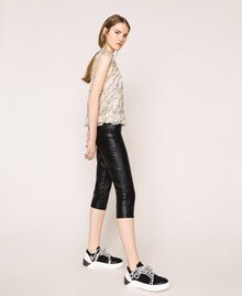Faux leather leggings with stitches Black Woman 201ST2113-03