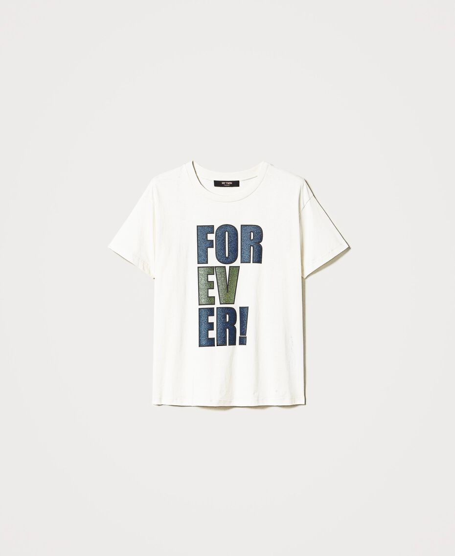 """T-shirt with glitter print """"Forever Mid Blue"""" / """"Off White"""" Floral Print Woman 202MP241B-0S"""