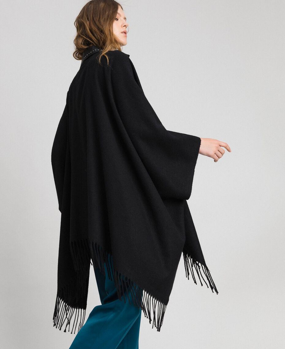 Fringed cape with double garment effect Black Woman 192MP2110-02