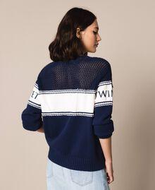 """Maglia con inserto in felpa e logo Bicolor Blu Notte / Bianco """"Neve"""" Donna 201TP3201-04"""