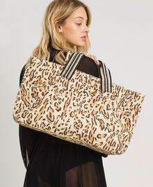 "Canvas beach bag with animal print ""Petra Sandstone"" Brown Animal Print Woman 191LM4UAA-0S"