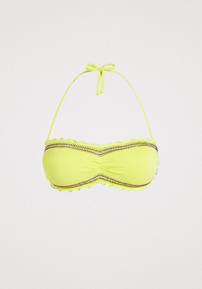 Bandeau bikini top with rhinestones and ruffles