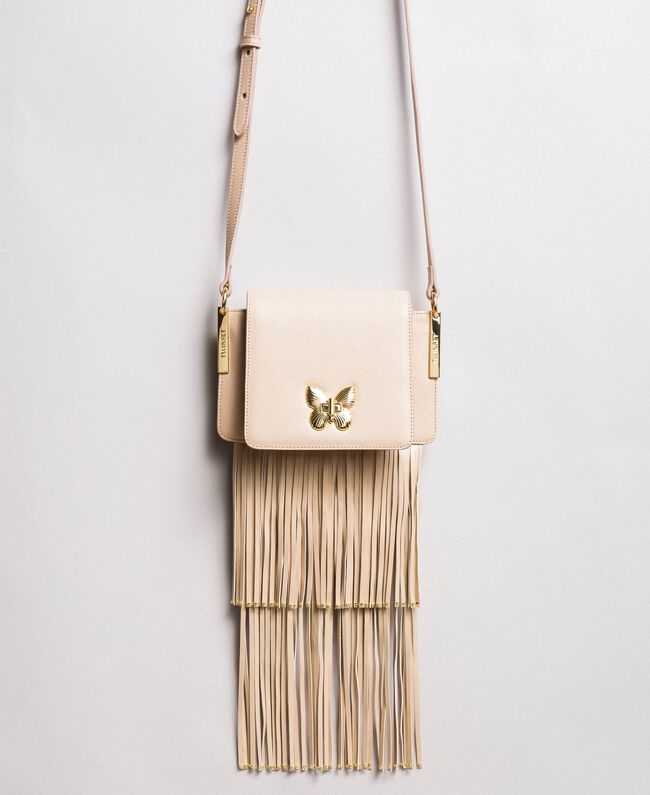 "Leather Bea shoulder bag with fringes ""Marzipan"" Beige Woman 191TO8231-01"