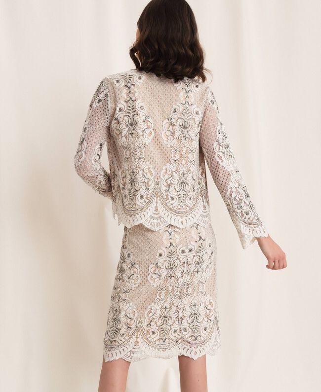 Кружевной жакет с вышивками Слоновая кость женщина 201TP2460-03