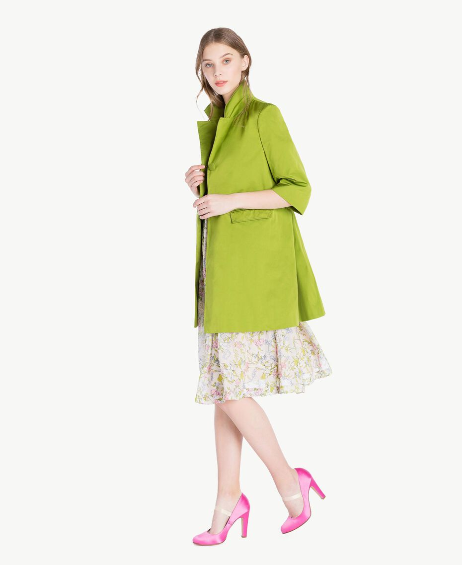 """Technical fabric duster coat """"Lime"""" Green Woman PS82J1-02"""