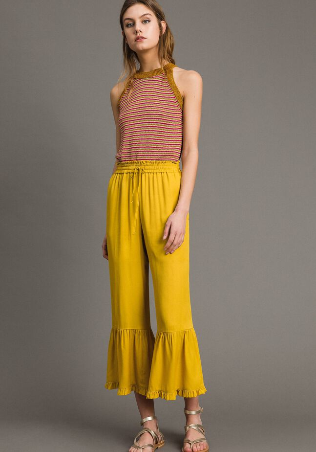 Silk blend trousers with ruches