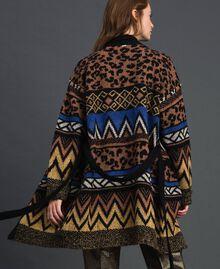 Cardigan en laine et mohair avec motifs jacquard Jacquard Mélange Géométrique Animalier Femme 192ST3191-05