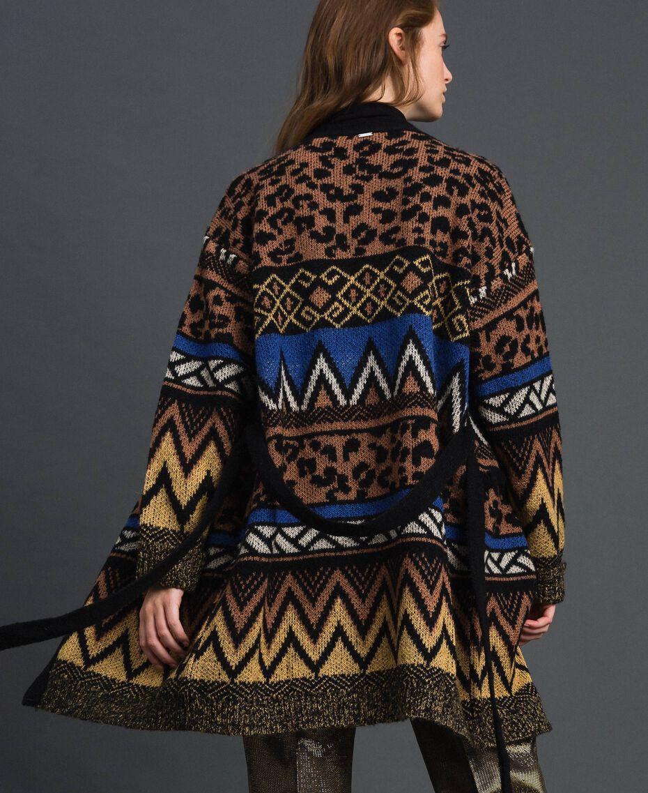 Wool and mohair cardigan with jacquard patterns Geometric Animal Print Mix Jacquard Woman 192ST3191-05