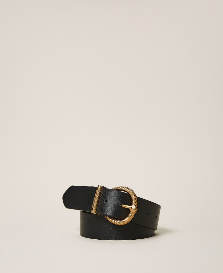 Leather belt with torchon buckle Leather Brown Woman 202TO5011-02