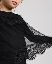 T-shirt with lace and tulle flounces Black Child 192GJ2320-04
