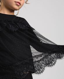 Shirt mit Volants aus Spitze und Tüll Schwarz Kind 192GJ2320-04