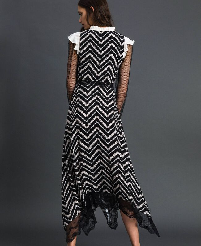 "Floral and chevron print long dress Black / ""Snow"" Chevron Print Woman 192TP2526-04"