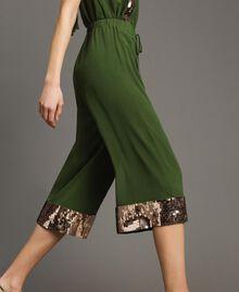 Pantalon cropped avec paillettes Vert Amazone Femme 191LM2CBB-02