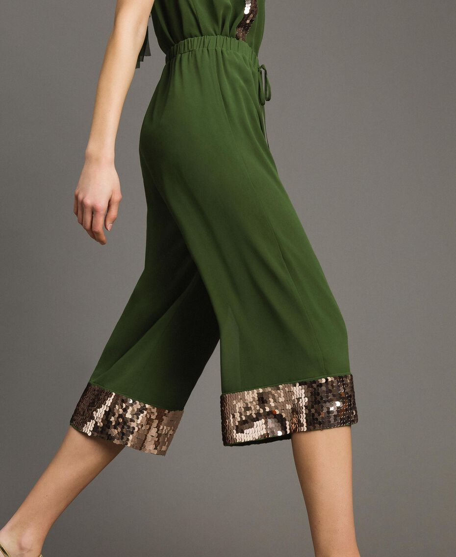 Cropped trousers with sequins Amazon Green Woman 191LM2CBB-02