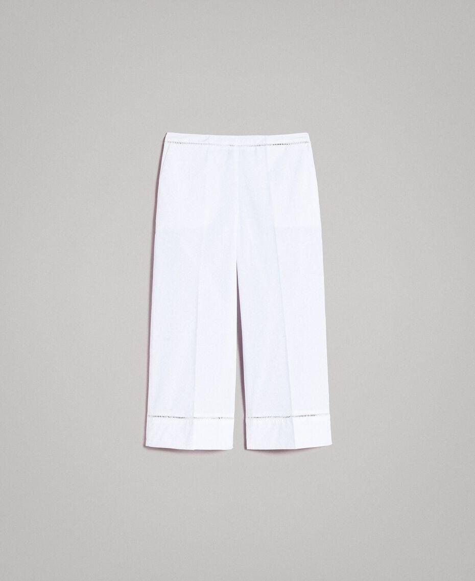 Popeline-Hose mit Stickereien Weiß Frau 191TT2244-0S