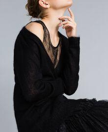 Cardigan aus Mohair mit Unterhemd aus Spitze Schwarz Frau PA836D-01