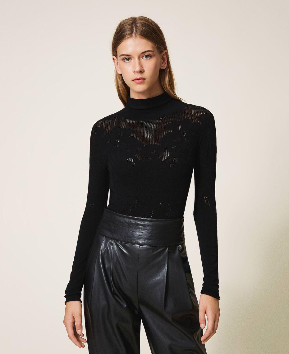 Pull body en filet avec point dentelle Noir Femme 202TP3320-01