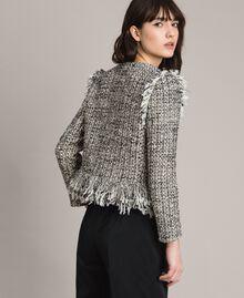 "Fringed tweed jacket Two-tone ""Snow"" White Bouclé / Black Woman 191TP2523-03"