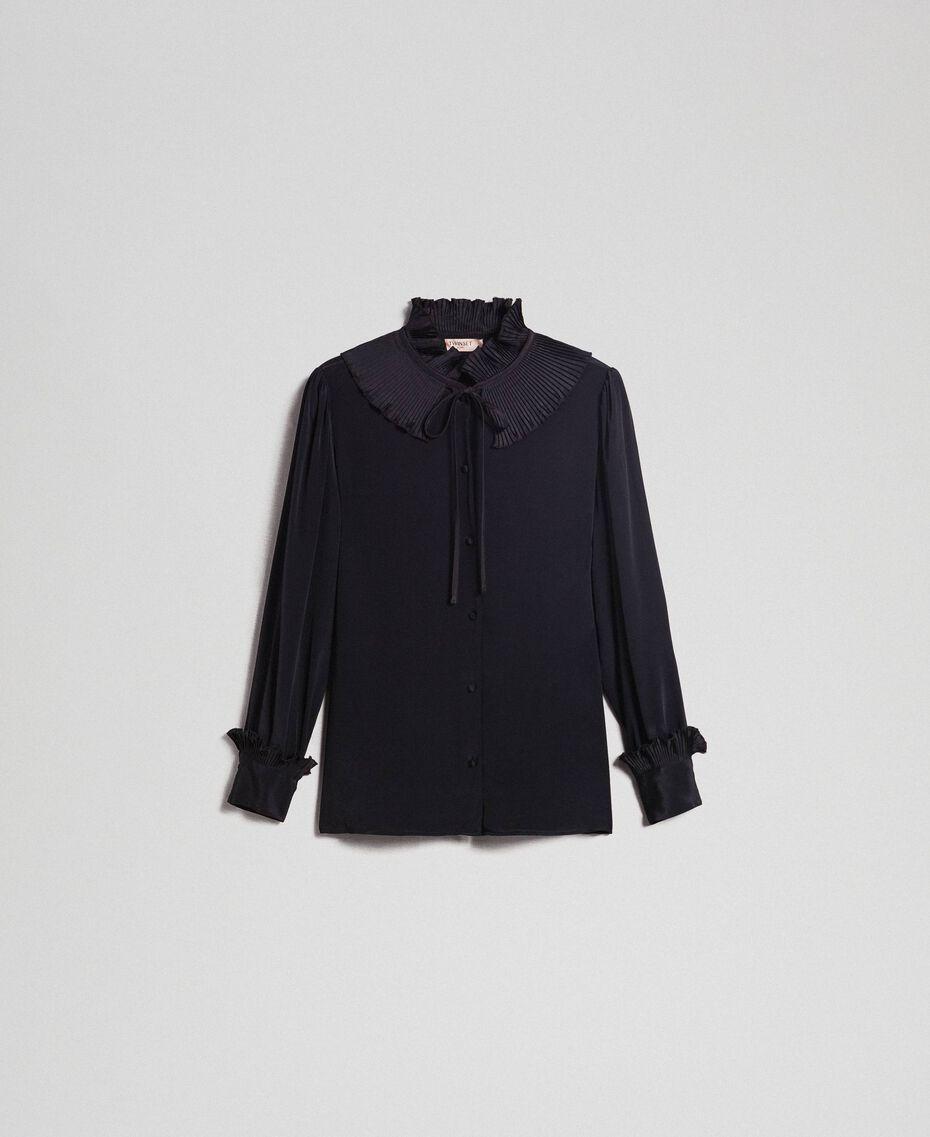 Crêpe de Chine silk blend shirt Black Woman 192TP2100-0S