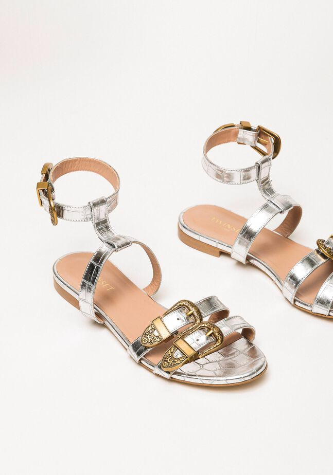 Flat leather sandals with crocodile print