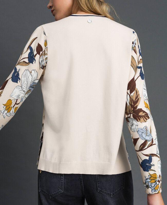 Cardigan avec imprimé floral et chevrons Imprimé Fleurs d'Automne Crème Femme 192ST3221-04