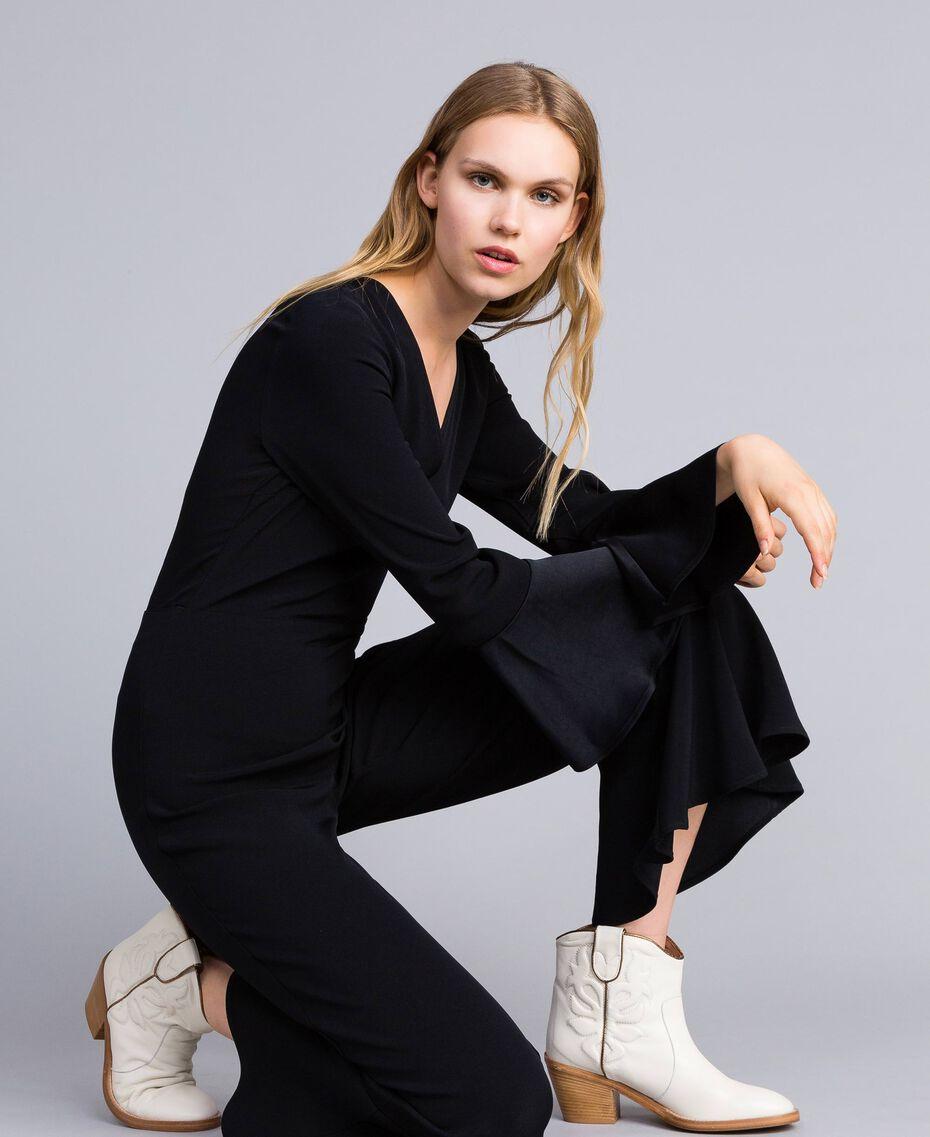 Boots à talons en cuir avec broderie Blanc Neige Femme CA8TGA-0S