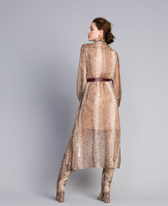 Long animal print chiffon silk dress Camel Snake Print Woman PA827B-03